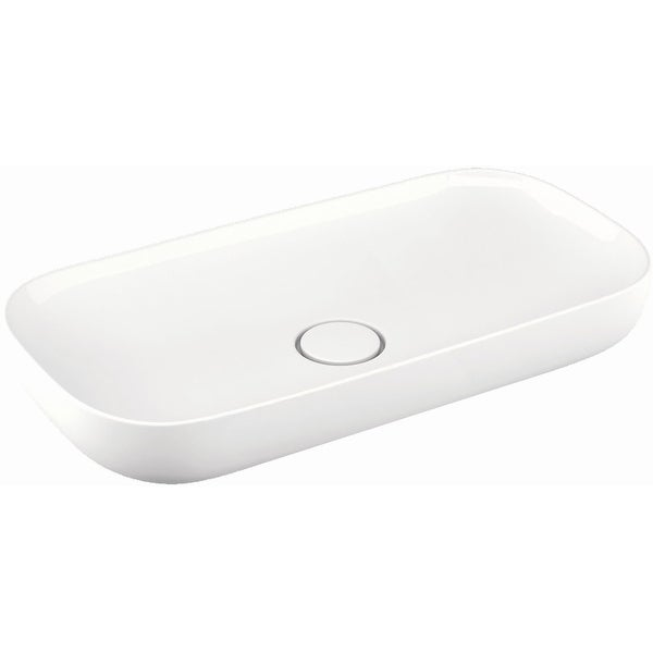 """WS Bath Collections Vision 6290 Vision 35-2/5"""" Ceramic Vessel Bathroom Sink - Gloss White"""
