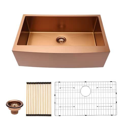30 inch Farmhouse Kitchen Sink Apron Front 16 Gauge Stainless Steel Deep Single Bowl Kitchen Farm Sinks