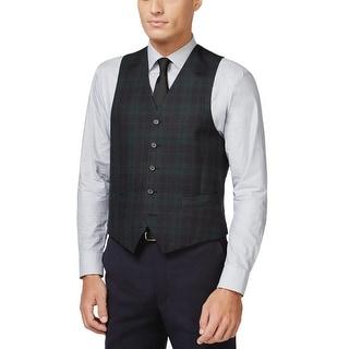 Ralph Lauren Mens Classic Fit Tartan Plaid Vest Navy Blue and Green 46 Regular