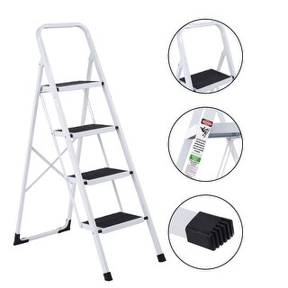Costway Non-slip 4 Step Ladder Folding Steel Work Platform Stool 330 Lbs Load Capacity