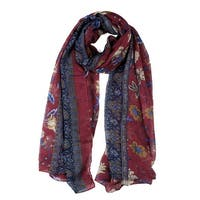 Large Polyester Scarves Beach Shawl Vintage Style Wraps For Women Burgundy