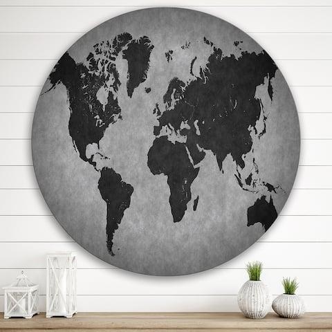 Designart 'Ancient Map of The World IX' Vintage Metal Circle Wall Art