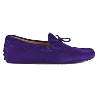 Tod's Men's Purple Suede Slip On Self-Tie Driver Loafers