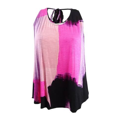 Rachel Rachel Roy Women's Plus Printed Tie-Back Tank Top (1X, Cosmo Pink Combo) - Cosmo Pink Combo - 1X