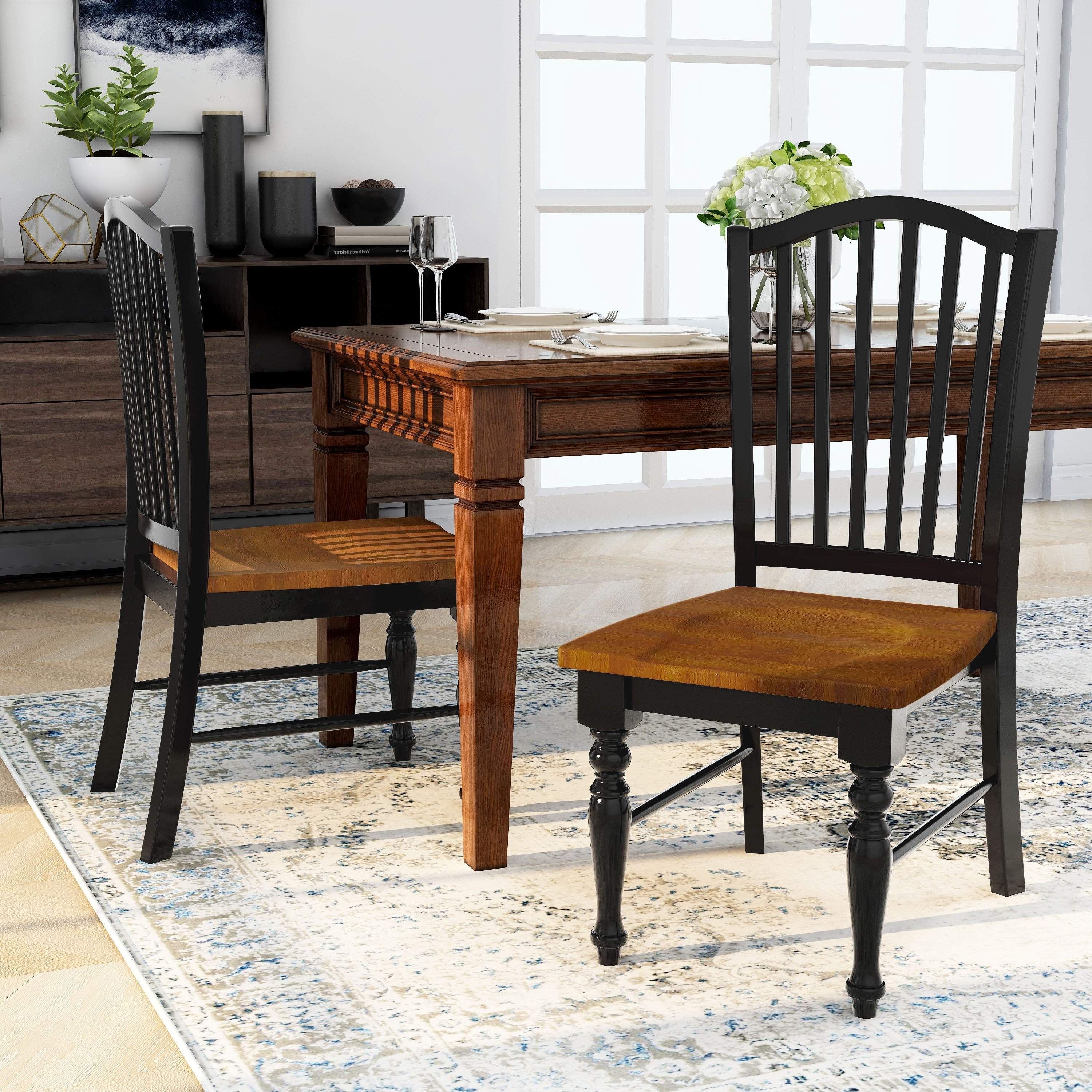 Furniture Of America Levole Two Tone Country Style Dining Chairs Set Of 2 Overstock 20460851