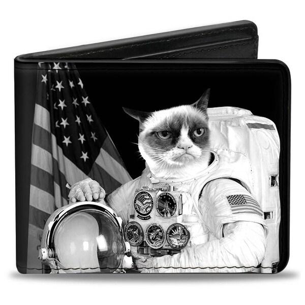 Astronaut Grumpy Cat Black White Bi Fold Wallet - One Size Fits most