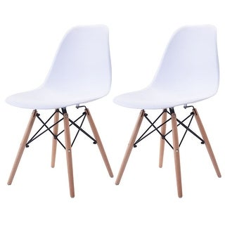 Costway Set of 2 Mid Century Modern Style DSW Dining Side Chair Wood Leg