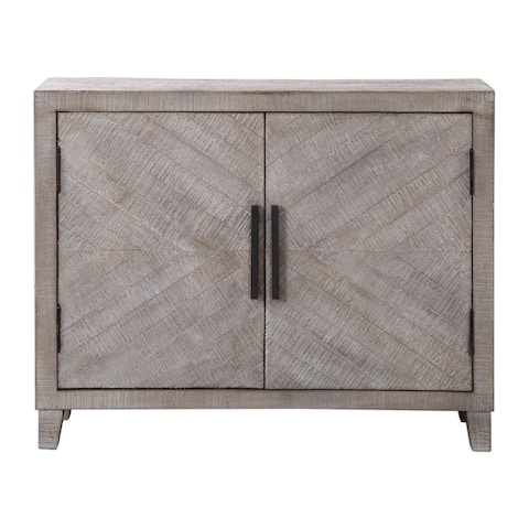 "Uttermost 24873 Adalind 40"" Wide Contemporary Fir Wood Accent Cabinet with Antique Bronze Door Pulls - White Washed Glaze"