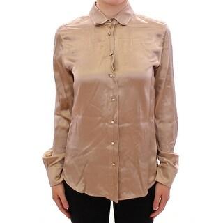 Dolce & Gabbana Dolce & Gabbana Beige silk pearl button shirt blouse - it44-l