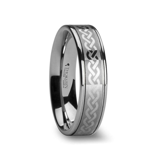 THORSTEN - PALLAS Celtic Knot Laser Engraved Tungsten Wedding Ring - 6mm