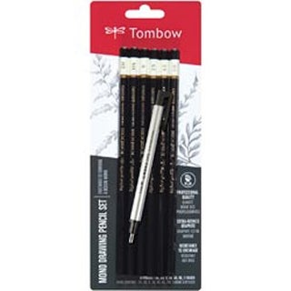 2H; Hb; B; 2B; 4B & 6B - Tombow Mono Drawing Pencils 6/Pkg & Eraser Set