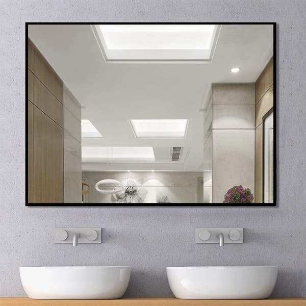 Modern Large Black Rectangle Wall Mirrors For Bathroom Vanity Mirror On Sale Overstock 30505348 38 X 26
