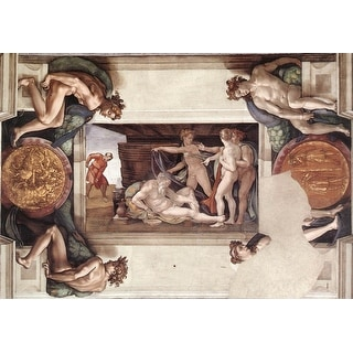Easy Art Prints Michelangelo's 'Drunkenness of Noah, Sistine Chapel' Premium Canvas Art