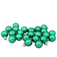 "24-Piece Shiny and Matte Green Mini Glass Ball Christmas Ornament Set 1"" (25mm)"