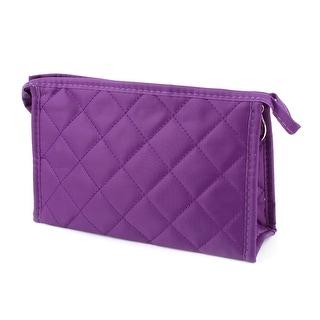 Unique Bargains Women Rhombus Pattern Polyester Zipper Cosmetic Makeup Holder Bag Purple
