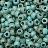 Czech Glass Matubo, 7/0 Seed Beads, 7.5 Gram Tube, Dark Turquoise Green Travertine