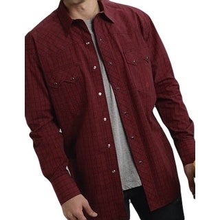Roper Western Shirt Mens L/S Tall Check Snap Red 03-001-0778-6036 RE