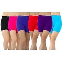 6 Pairs High Rise Seamless Microfiber Workout Shorts