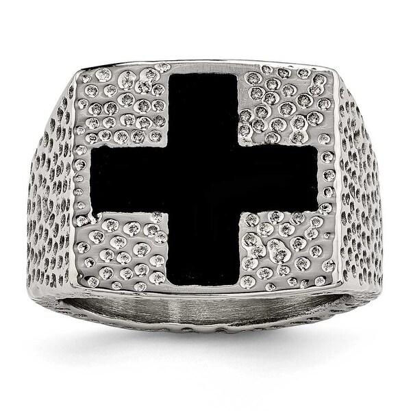 Chisel Stainless Steel Textured Black Enameled Cross Ring (18 mm)
