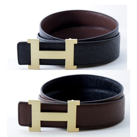 Women's Reversible H Belt with Removable Buckle (Fits size 26 to 34)