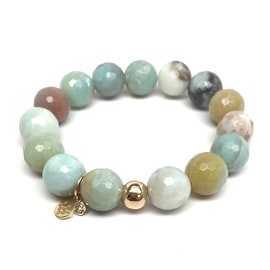 Green Amazonite 'Lauren' Stretch Bracelet, 14k over Sterling Silver