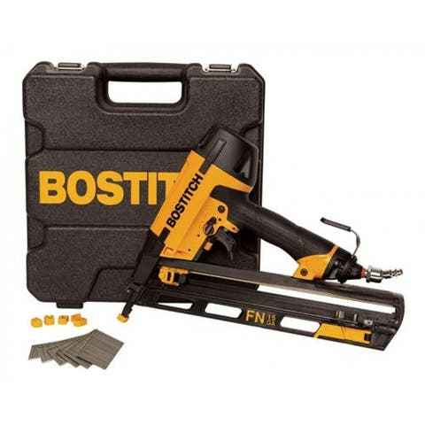Bostitch N62FNK-2 Oil-Free Pneumatic Angled Finish Nailer Kit, 15-Gauge