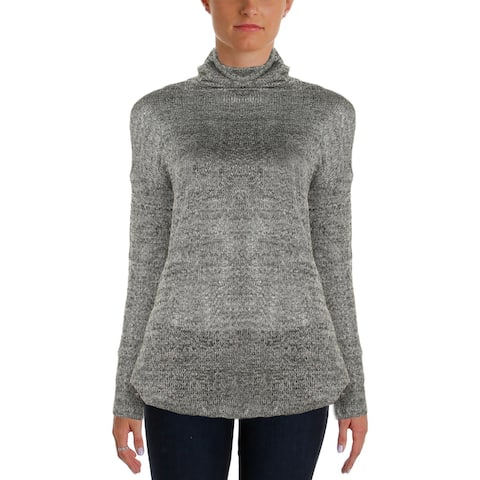 Vince Camuto Womens Turtleneck Sweater Metallic Hi-Low