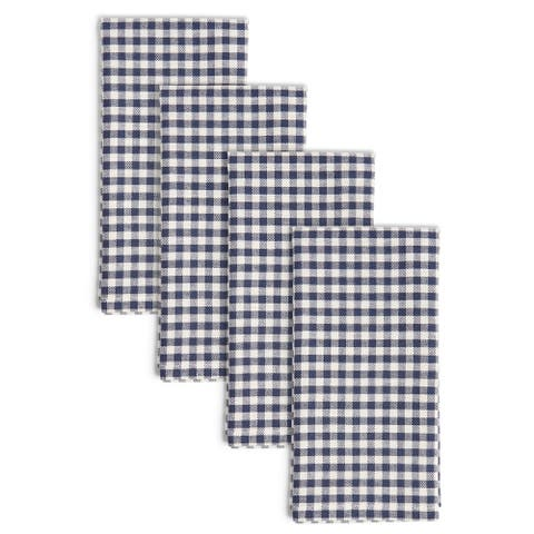 "Town & Country Living Gingham Woven Napkins, 19""x19"", Navy, Set of 4 - 19""x19"""