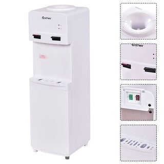 Costway Compressor Cooling Top Loading Water Dispenser Cold Hot 5 Gallon Home Office - White