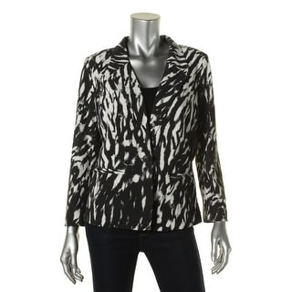 Kensie Womens Printed Lined One-Button Blazer - M