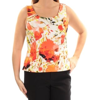 Womens Orange Floral Sleeveless Square Neck Top Size 14