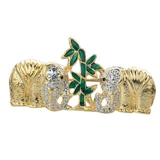 """Double Elephant with Bamboo Plant """"Safari Collection"""" Holiday Brooch Pin, by JADA Collections"""