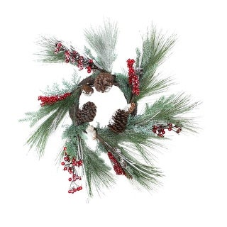 "32"" Festive Red Berries, Pine Cones and Green Pine Sprigs Artificial Christmas Wreath - Unlit"