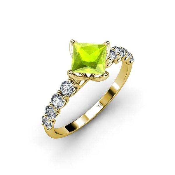 TriJewels Peridot Diamond Womens Engagement Ring 14K Gold. Opens flyout.