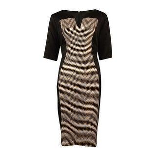 Connected Women's Split Neck Chevron Panel Sheath Dress - Black/Camel (2 options available)