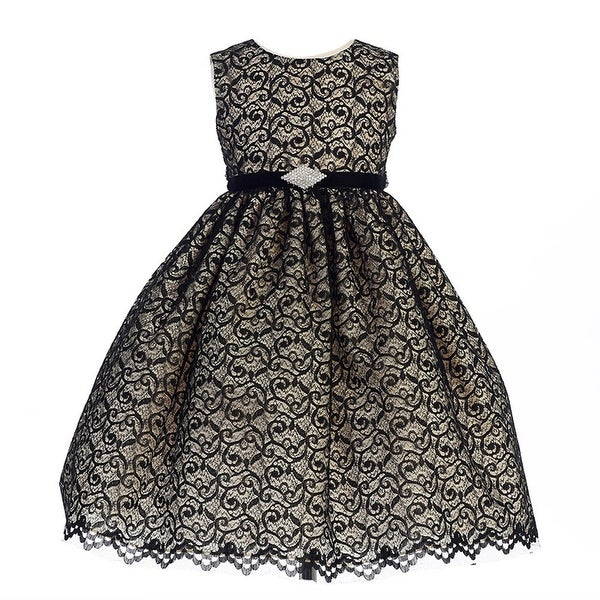 02b6629d14b Shop Crayon Kids Little Girls Taupe Black Lace Overlay Brooch Occasion Dress  2T-6 - Free Shipping Today - Overstock.com - 18173782