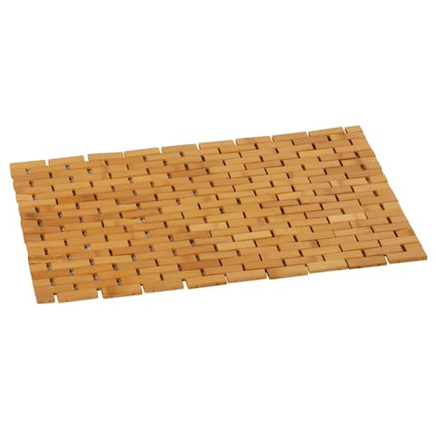 Cortesi Home Mosa Natural Bamboo Large Shower Mat, 24x16