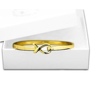 Autism Awareness Elegant Gold Ribbon Bangle Bracelet