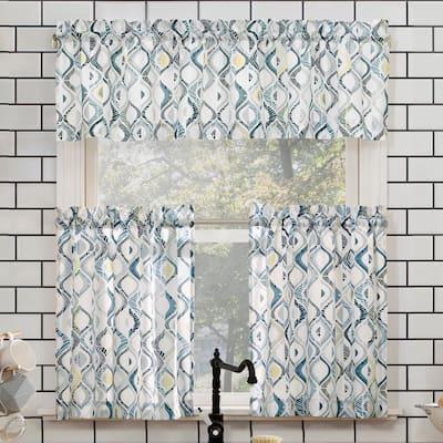 No. 918 Barker Geometric Semi-Sheer Rod Pocket Kitchen Curtain Valance and Tiers Set