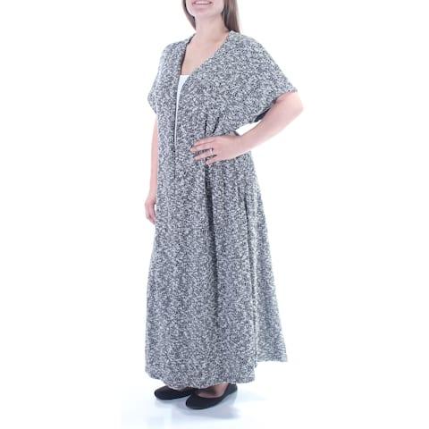 CHELSEA SKY Womens Black Slitted Short Sleeve Open Sweater Size: M