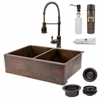 Premier Copper Products KSP4-KA50DB33229 33 in. Kitchen Apron 50-50 Double Basin Sink with Spring Pull Down Faucet
