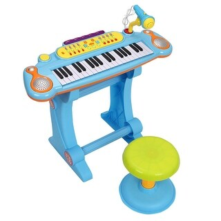 Gymax 37 Key Kids Electronic Keyboard Mini Piano Microphone And Stool Blue
