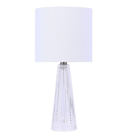 """16"""" Glass Lamp with Brushed Nickel Accents & Off-White Linen Drum Shade"""