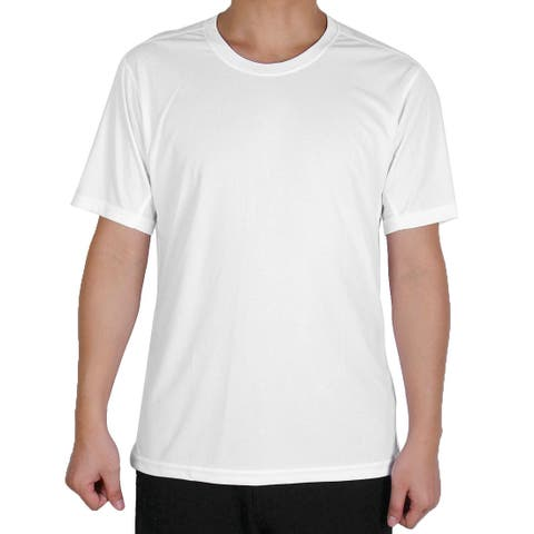 Men Polyester Short Sleeve Clothes Casual Wear Tee Golf Sports T-shirt White XL