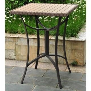 Inc Barcelona Resin Wicker-Aluminum Bar Bistro Table - Black