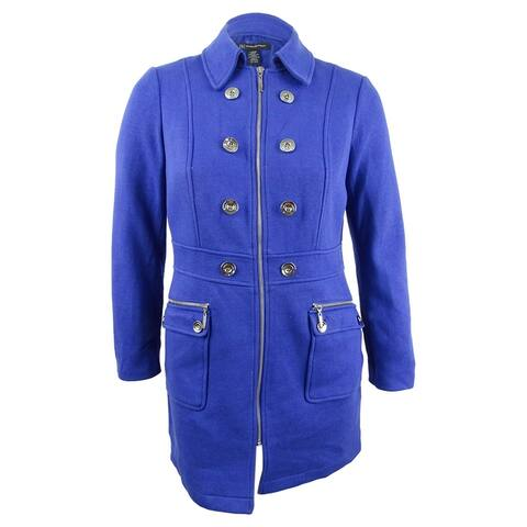 INC International Concepts Women's Button-Trim Coat (L, Goddess Blue) - Goddess Blue - L