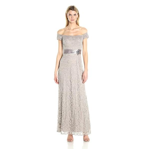 Shop Alex Evenings Lace Off Shoulder A-Line Evening Gown Dress ...