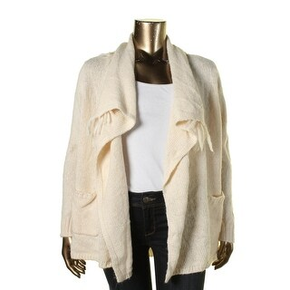 Bass Womens Cable Knit Fringe Cardigan Sweater