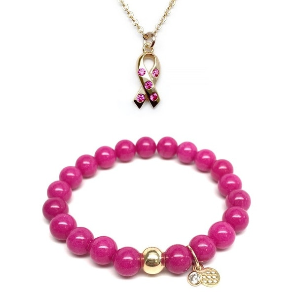 "Fuchsia Quartz 7"" Bracelet & Pink CZ Awareness Ribbon Gold Charm Necklace Set"