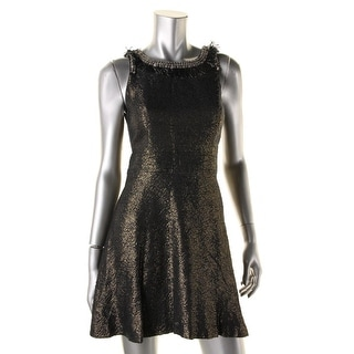 Twelfth St By Cynthia Vincent Womens Metallic Embellished Cocktail Dress